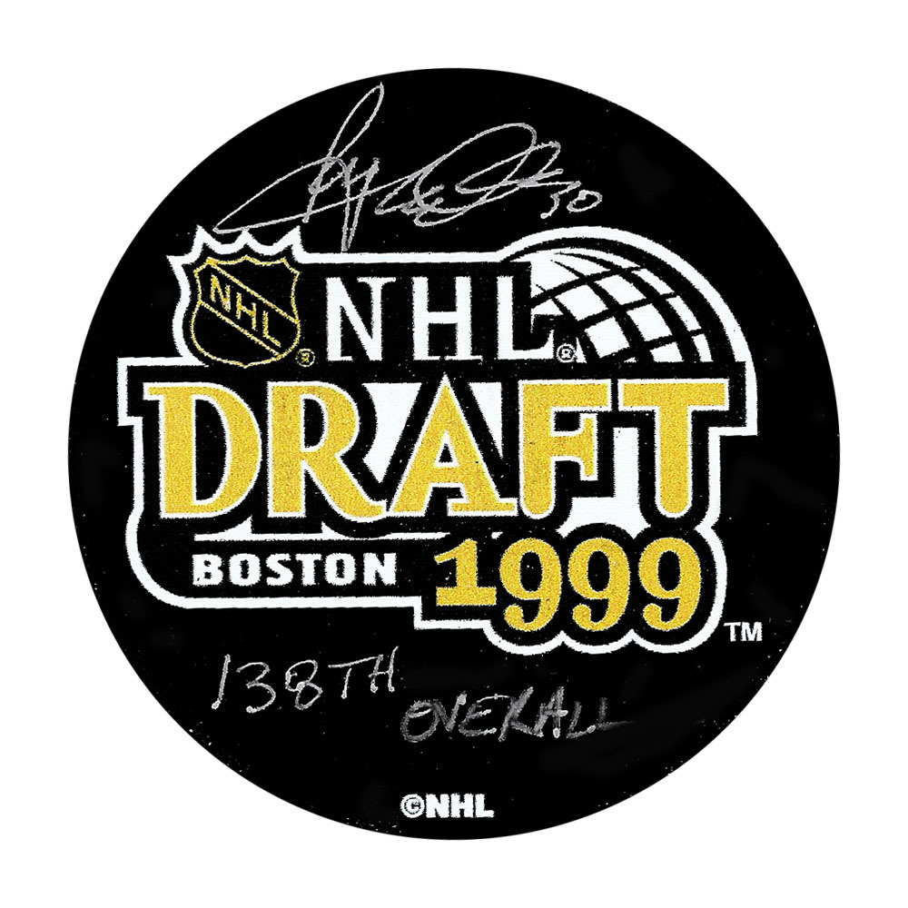 Ryan Miller Autographed 1999 NHL Entry Draft Puck w/#138 OVERALL PICK Inscription (Vancouver Canucks)