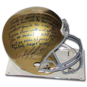Rudy Ruettiger Autographed Notre Dame Football Helmet w/Incredible Inscription
