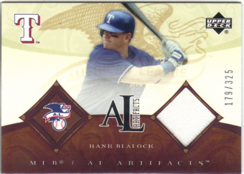 Photo of 2005 Artifacts AL/NL Artifacts #HB Hank Blalock Jsy/325