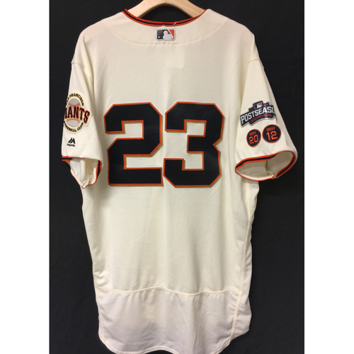 Photo of San Francisco Giants Ron Wotus 2016 Game-Used Postseason Home jersey (size 48, authenticated NLDS Game #3 and NLDS Game #4 vs Cubs)