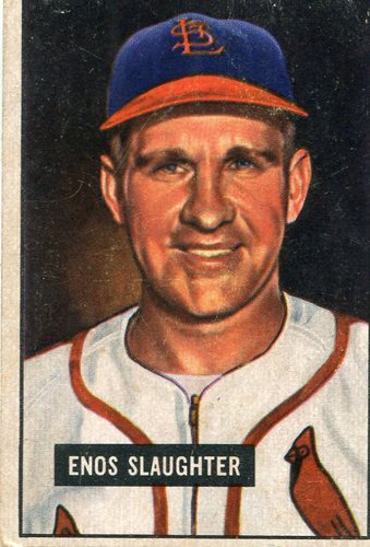 Photo of 1951 Bowman #58 Enos Slaughter -- Cardinals Hall of Famer
