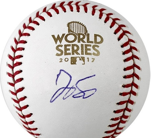 Photo of George Springer Autographed 2017 World Series Baseball