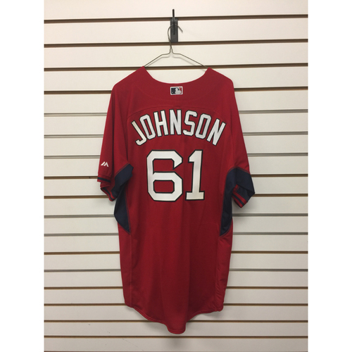 Photo of Brian Johnson Team-Issued Home Batting Practice Jersey