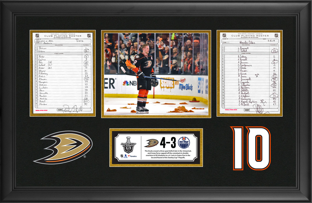 Anaheim Ducks Framed Original Line-Up Cards From May 5, 2017 vs. Edmonton Oilers - Corey Perry Scores Game-Winning Goal in Double Overtime