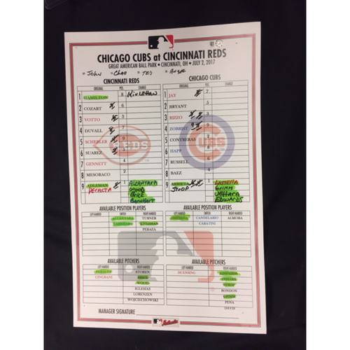 Photo of Joey Votto -- Game-Used Dugout Lineup Card -- Recorded the 1,499th Hit of Career -- Cubs vs. Reds on July 2, 2017