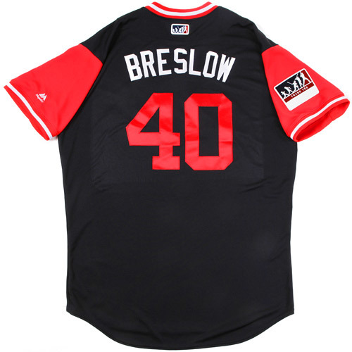 "Photo of Craig ""Breslow"" Breslow Cleveland Indians Game-Used Players Weekend Jersey"