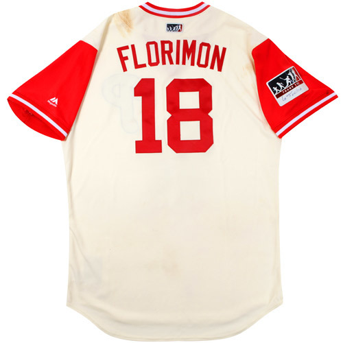 "Photo of Pedro ""Florimon"" Florimon Philadelphia Phillies Game-Used Players Weekend Jersey"