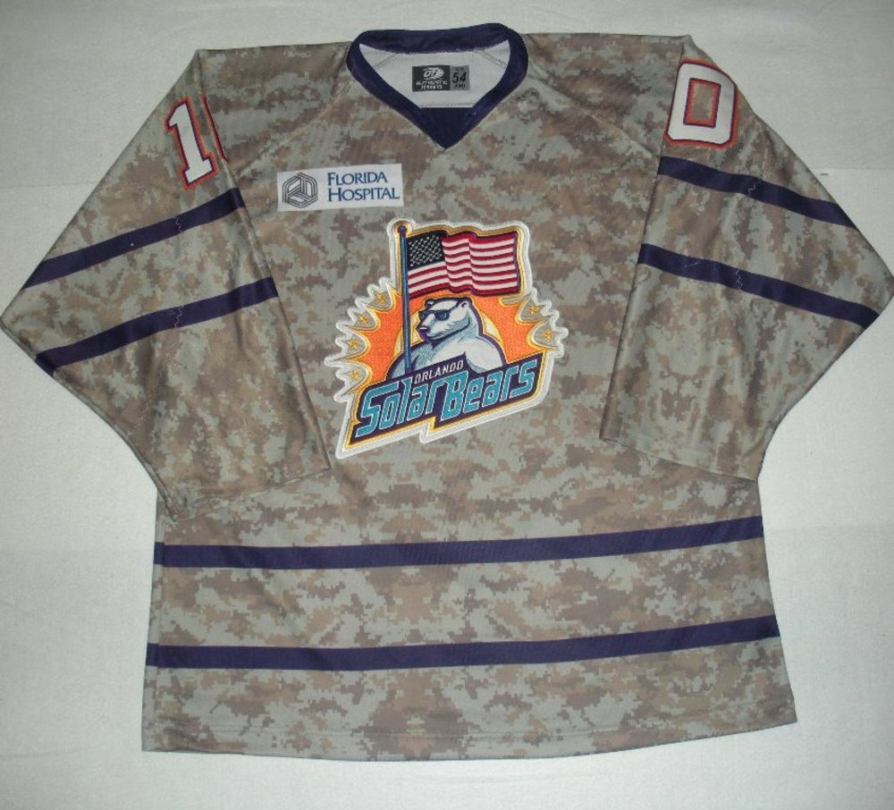Orlando Solar Bears - Jacob Lagace - Military Appreciation Night Camo Game-Worn Jersey