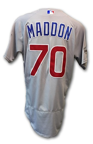Photo of Joe Maddon Game-Used Jersey -- Cubs at Dodgers -- NLCS Game 4 -- 10/19/16 and NLCS Game 5 -- 10/20/16