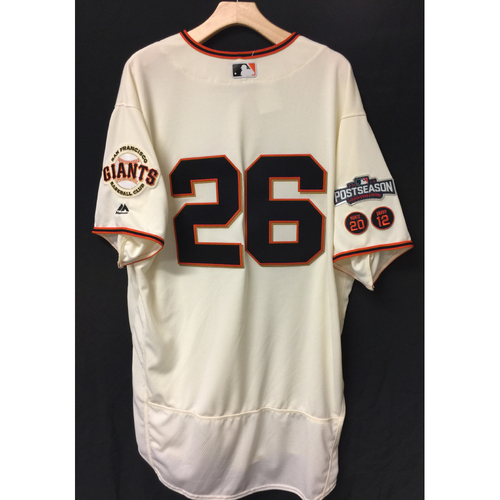 Photo of San Francisco Giants Mark Gardner 2016 Game-Used Postseason Home jersey (size 50, authenticated NLDS Game #4 vs Cubs)