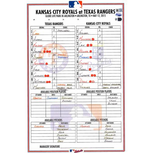 Photo of Texas Rangers Game-Used Lineup Card vs. Kansas City Royals on May 12, 2015