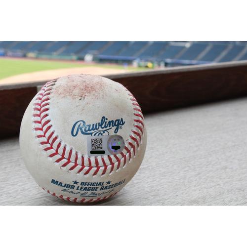 Photo of Game-Used Baseball: Alex Gordon Single - May 16, 2017 NYY at KC
