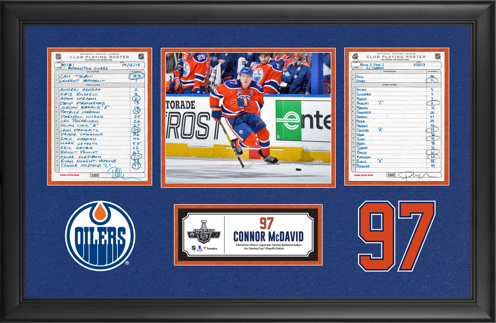 Edmonton Oilers Framed Original Line-Up Cards From April 12, 2017 vs. San Jose Sharks - Connor McDavid Makes His Stanley Cup Playoffs Debut