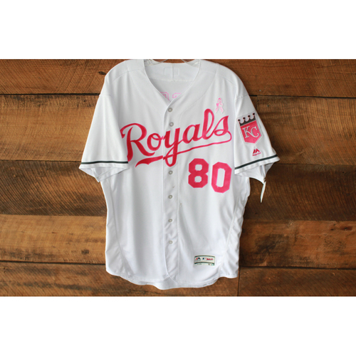 Photo of Game-Used Jersey: May 14, 2017 BAL at KC Mother's Day, Ryan Eigsti (Size 46)