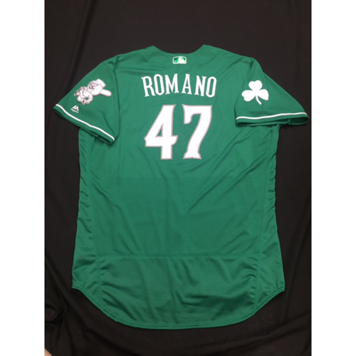 Photo of Sal Romano -- Game-Used -- Irish Heritage Jersey -- Worn for Bronson Arroyo Farewell Game -- Red Sox vs. Reds -- 9/23/17
