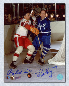 Red Kelly vs Alex Delvecchio Dual Signed Maple Leafs Red Wings Rivals 8x10 Photo