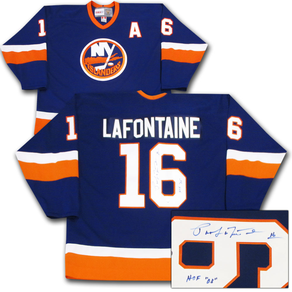 Pat LaFontaine Autographed New York Islanders Jersey w/HOF 03 Inscription
