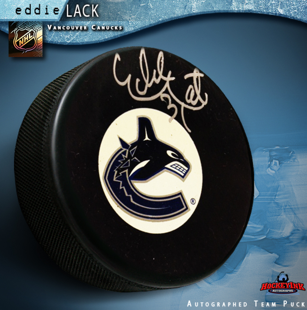 EDDIE LACK Signed Vancouver Canucks Puck