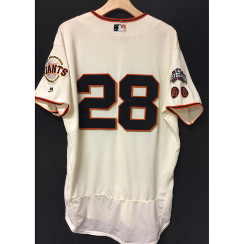 Photo of San Francisco Giants Buster Posey 2016 Game-Used Postseason Home jersey (size 46, authenticated NLDS Game #3 and NLDS Game #4 vs Cubs)