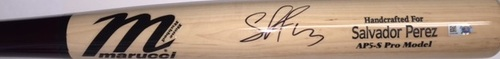 Photo of Salvador Perez Autographed Game Model Name Engraved Marucci Bat