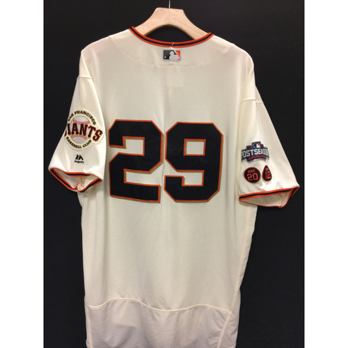 Photo of San Francisco Giants Jeff Samardzija 2016 Game-Used Postseason Home jersey (size 50, authenticated NLDS Game #3 and NLDS Game #4 vs Cubs)