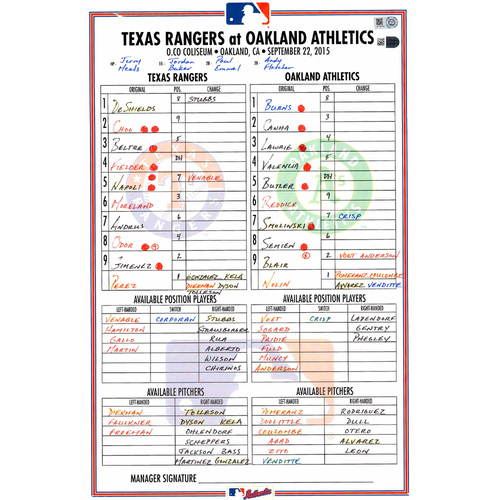 Photo of Texas Rangers Game-Used Lineup Card vs. Oakland Athletics on September 22, 2015