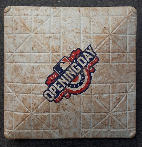 Photo of Authenticated Game Used Base - 2nd Base for Innings 4-6. 41st Blue Jays Home Opener (April 11, 2017 vs MIL)