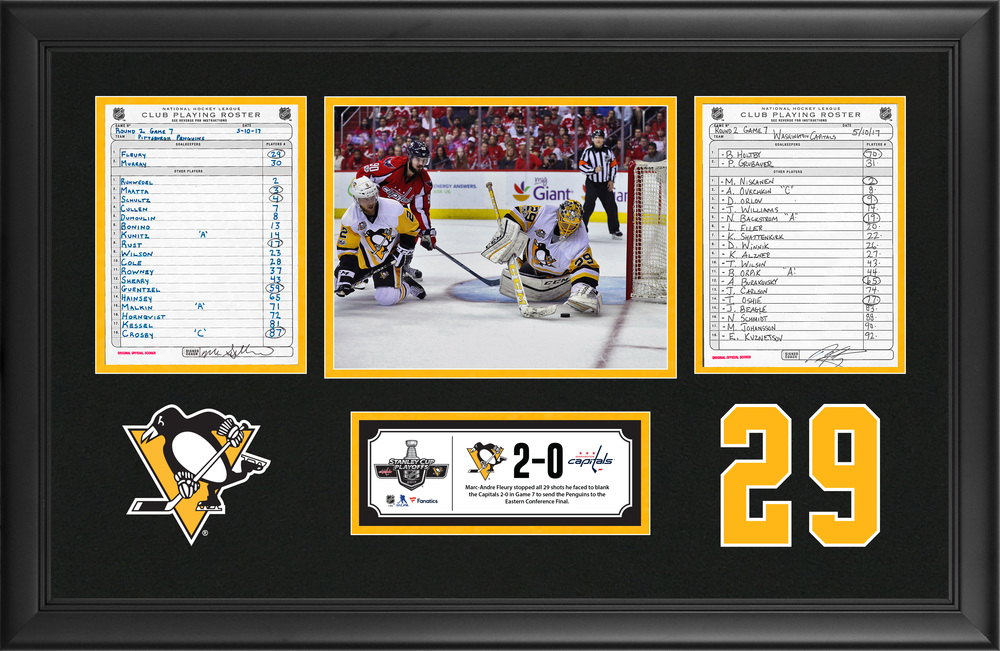 Pittsburgh Penguins Framed Original Line-Up Cards From May 10, 2017 vs. Washington Capitals - Marc-Andre Fleury Makes 29 Saves in Game 7 Playoff Shutout