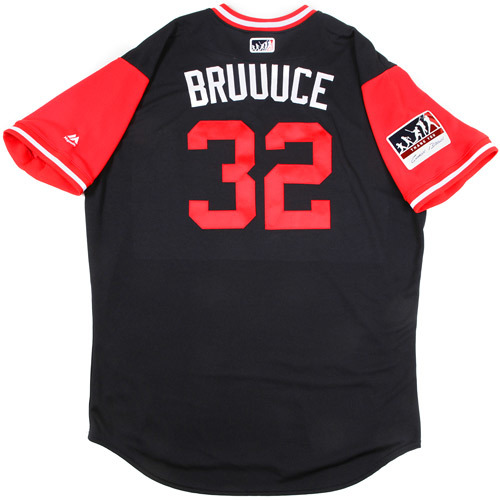 "Photo of Jay ""Bruuuce"" Bruce Cleveland Indians Game-Used Players Weekend Jersey"