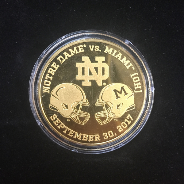 2017 Notre Dame Football Official Game Coin used During Miami (OH) Coin-Toss - 9/30/2017