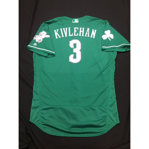 Photo of Patrick Kivlehan -- Game-Used -- Irish Heritage Jersey -- Worn for Bronson Arroyo Farewell Game -- Red Sox vs. Reds -- 9/23/17