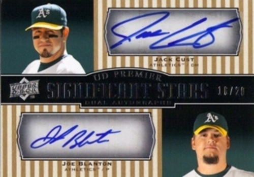 Photo of 2008 Upper Deck Premier Significant Stars Autographs #CB Jack Cust/Joe Blanton AUTO 16/20