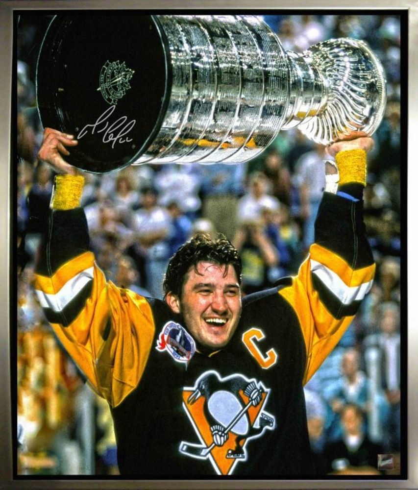 Mario Lemieux Signed, Framed 20 x 24 Canvas with Pittsburgh - Stanley Cup Image
