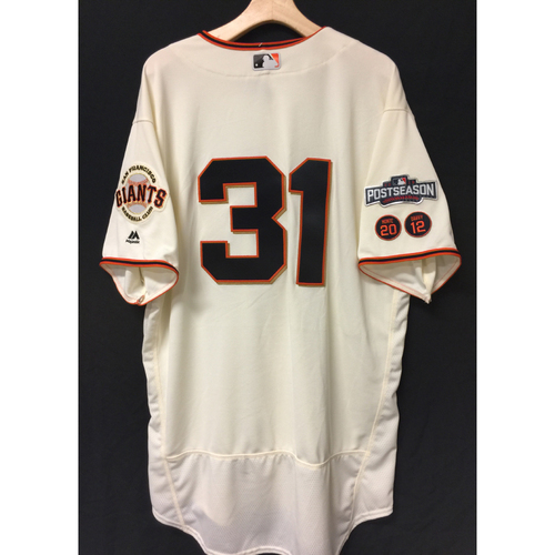 Photo of San Francisco Giants Hensley Muelens 2016 Game-Used Postseason Home jersey (size 50, authenticated NLDS Game #4 vs Cubs)