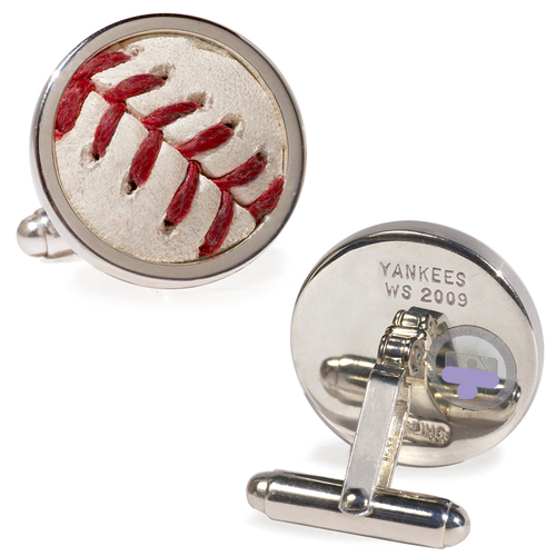 Photo of Tokens & Icons New York Yankees 2009 World Series Game-Used Baseball Cuff Links - Game 3