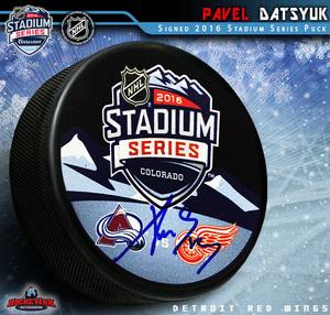 PAVEL DATSYUK Signed 2016 Stadium Series Souvenir Puck - Detroit Red Wings