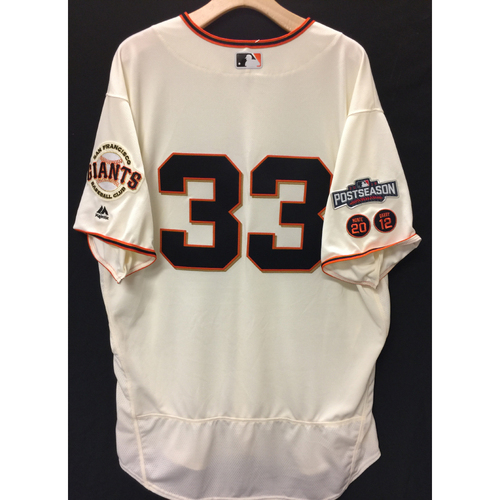 Photo of San Francisco Giants Steve Decker 2016 Game-Used Postseason Home jersey (size 52, authenticated NLDS Game #4 vs Cubs)