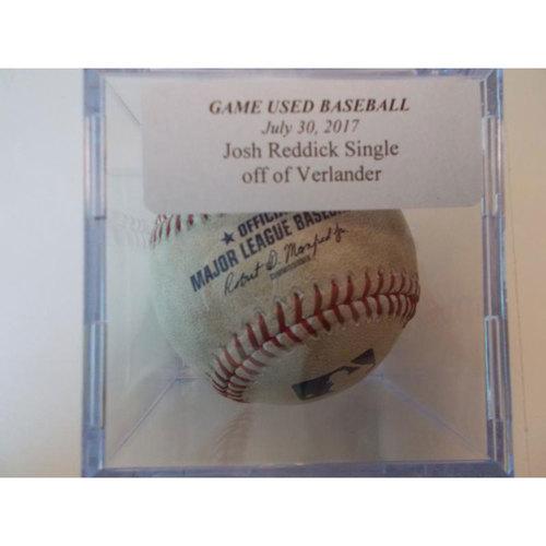 Photo of Game-Used Baseball: Josh Reddick Single Off Pitcher Justin Verlander
