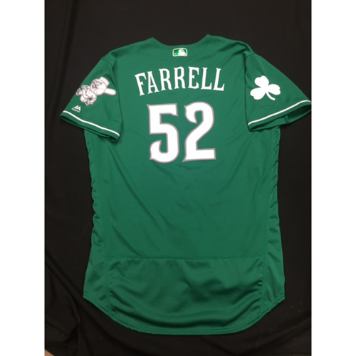 Photo of Luke Farrell -- Game-Used -- Irish Heritage Jersey -- Worn for Bronson Arroyo Farewell Game -- Red Sox vs. Reds -- 9/23/17