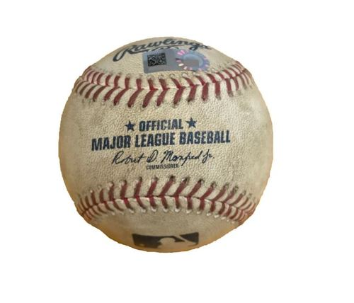 Photo of Game-Used Baseball from Pirates vs. Cubs on 9/4/17 - Schugel to Bryant, Ball in the Dirt