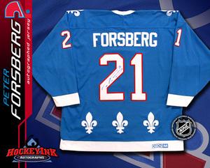 PETER FORSBERG Signed Retro Blue Quebec Nordiques CCM Jersey