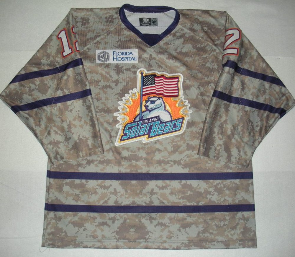 Orlando Solar Bears - Mike Ullrich - Military Appreciation Night Camo Game-Worn Jersey