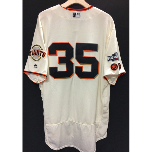 Photo of San Francisco Giants Brandon Crawford 2016 Game-Used Postseason Home jersey (size 48, authenticated NLDS Game #3 and NLDS Game #4 vs Cubs)