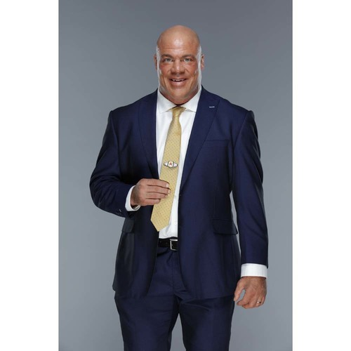 Photo of Kurt Angle WORN & SIGNED Gold Colored Tie (Connors Cure - 09/04/17)