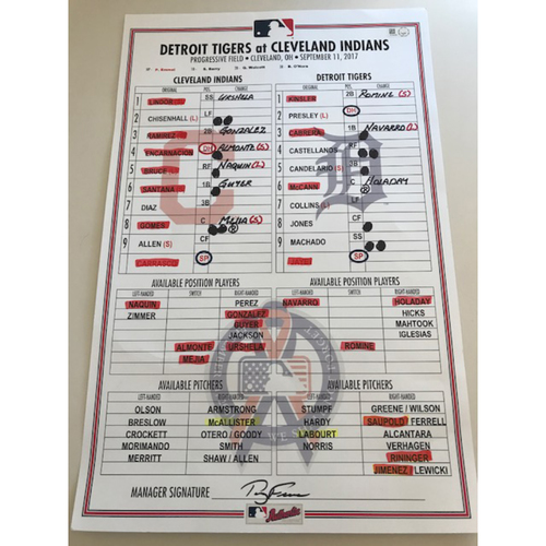 Photo of Game-Used Lineup Card: Indians Win 19th Consecutive Game (9/11/17)