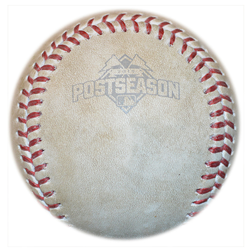 Photo of Game Used Baseball - 2015 NLCS Game 1 - Jon Lester to Curtis Granderson - 7th Inning - Mets vs. Cubs - 10/17/15