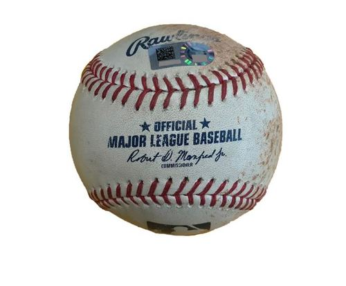 Photo of Game-Used Baseball from Pirates vs. Cubs on 9/5/17 - Moroff RBI Single/Jay Throws Out Marte at 3rd, McCutchen Foul Tip