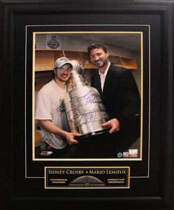 Mario Lemieux & Sidney Crosby Pittsburgh Penguins Dual Signed Cup 25x31 Frame