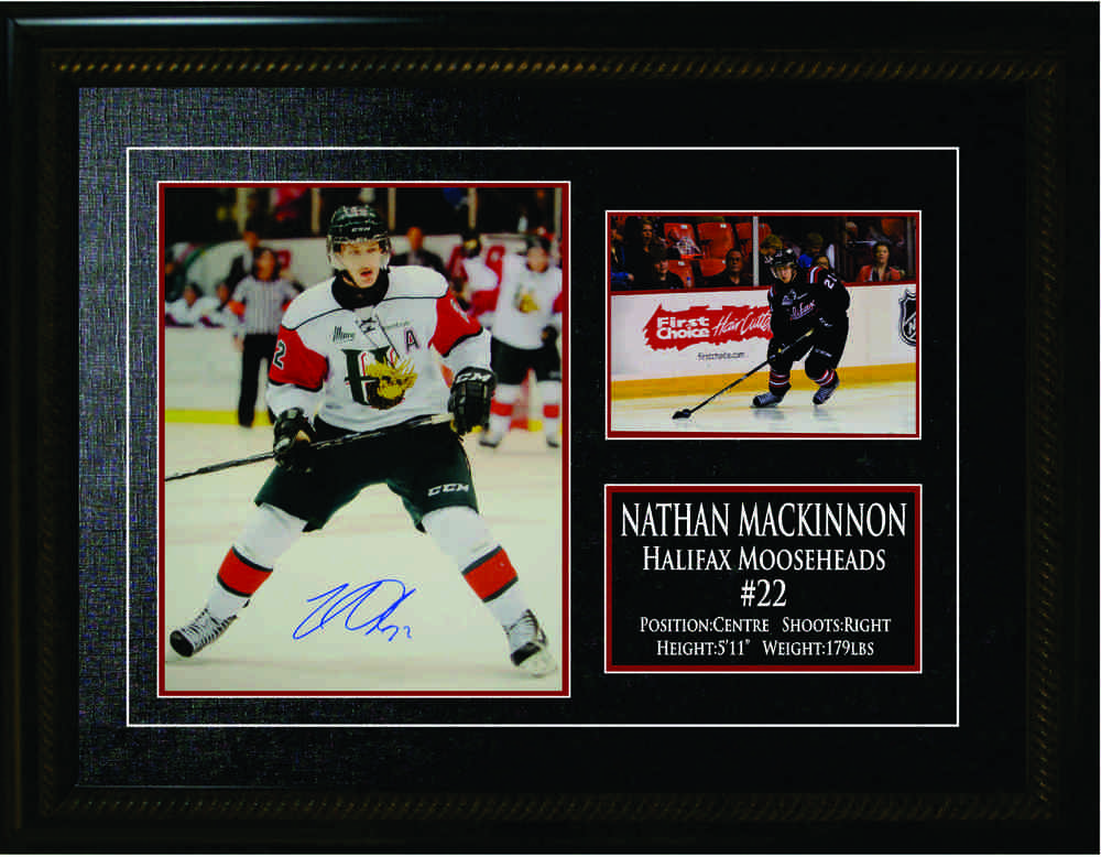 Nathan MacKinnon Signed and Framed 8x10 Halifax Mooseheads Heads Up Photo with Stats