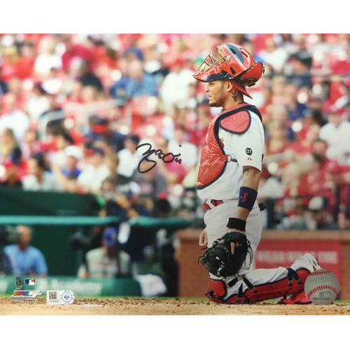 Photo of Cardinals Authentics: Yadier Molina Kneeling Autographed Photo